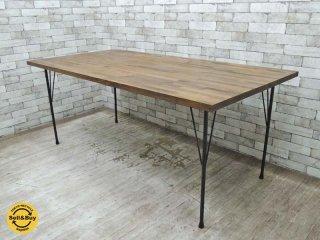 リメイク ダイニングテーブル Remake dining table パイン無垢材 アイアンフレーム インダストリアル W180cm ★