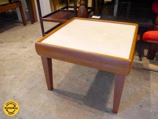 ビンテージ チーク材×メラミントップ天板 スクエア コーヒーテーブル サイドテーブル ■