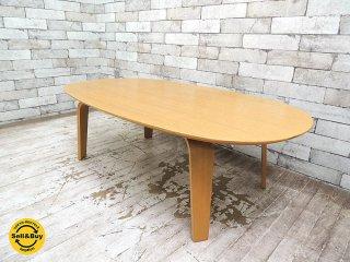 無印良品 MUJI 座テーブル オーバル ローテーブル タモ材 プライウッド W110xD62xH35cm ●