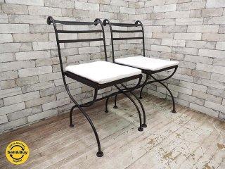 ロートアイアン ガーデンチェア クッション付 2脚セット (B) フォールディングチェア 折り畳み椅子 ●