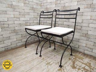 ロートアイアン ガーデンチェア クッション付 2脚セット (A) フォールディングチェア 折り畳み椅子 ●