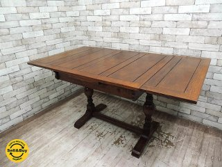UKアンティーク オーク材 ドローリーフテーブル EXテーブル W91〜152cm 英国家具 ビンテージ ●