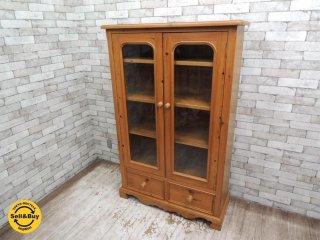 ペニーワイズ THE PENNY WISE オリジナル パイン材 ガラスドア ブックケース キャビネット 食器棚 飾り棚 W103cm 英国家具 UKカントリー ●