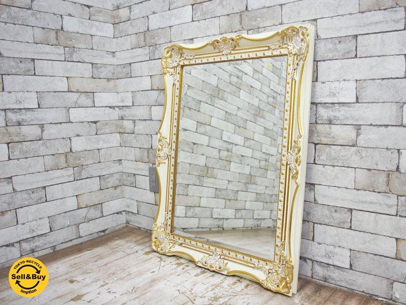 エレガントスタイル ロココ調 ウォールミラー 鏡 スクエア ●