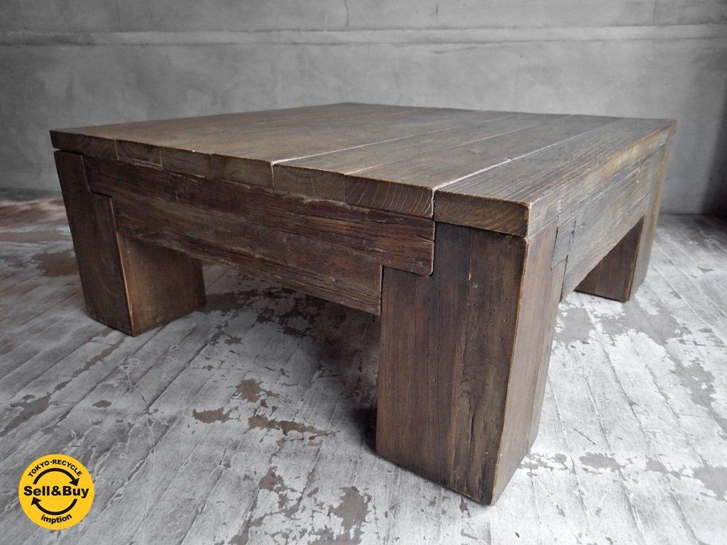 ロックストーン ROCKSTONE 古材 無垢材 ローテーブル 正方形♪