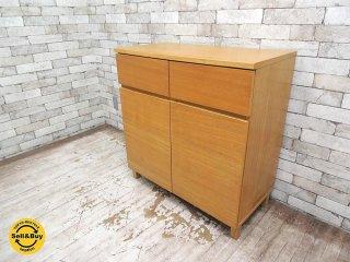 無印良品 MUJI 木製キャビネット タモ材 収納棚 W80xD40xH83.5cm ●