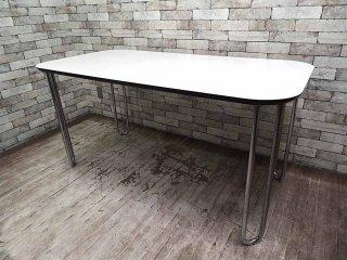 フランフラン Francfranc メラミン天板×スチールレッグ U—ダイニングテーブル モダンデザイン ●