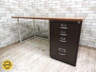 ビスレー BISLEY デスクプラン ウォールナット天板 + 1F3キャビネット + Lフット 机 ワーキングテーブル W150cm 英国 ●