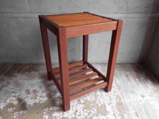 チーク材 × バンブー サイドテーブル 格子棚 ♪