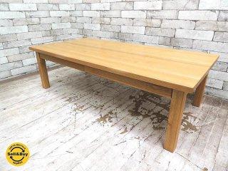 無印良品MUJI 木製ローテーブル 引出付 w120cm タモ材 無垢集成材天板 ナチュラルスタイル ●