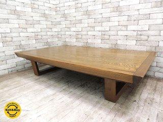 USビンテージ オーク材 リメイク センターテーブル ローテーブル W164cm クラフト カントリー 木味 アクメ購入品 ●