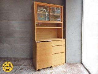 無印良品 MUJI オーク材 カップボード オープンタイプ ワゴン付 食器棚 定価64,900円♪