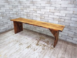 クラフト家具 杉無垢材 ベンチ テーブル W140 ●