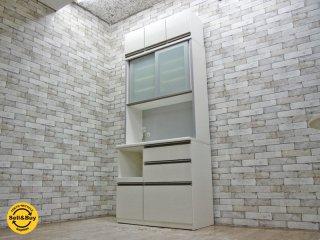 松田家具 MATSUDA コロル キッチンボード 食器棚 ダイニングボード W98cm 上置き付き ●