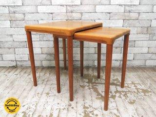 デューロン Dyrlund ビンテージ チーク無垢材 ネストテーブル 2個組 サイドテーブル コーヒーテーブル 北欧家具 デンマーク ●
