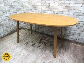 無印良品 MUJI リアルファニチャーシリーズ オーク材 オーバル ダイニングテーブル W160cm ナチュラル ●