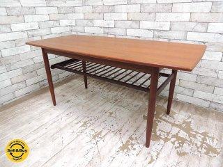 チーク材 ビンテージ コーヒーテーブル センターテーブル W122.5cm ローズウッド 北欧家具 デンマーク ●