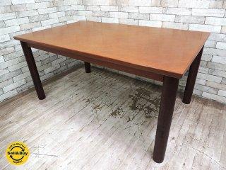日本楽器 ヤマハ ビンテージ チーク無垢材 ダイニングテーブル 北欧スタイル 国産家具 W150cm ●