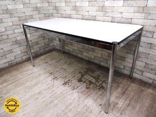 ハラーシステム USM Haller ワーキングテーブル カンファレンステーブル ダイニングテーブル W150cm ホワイトラミネート天板  ●