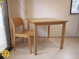 無印良品 MUJI タモ無垢材 ダイニングテーブル シンプル ナチュラル スクエア W80×D80cm ★
