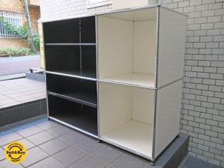 ハラーシステム USM Modular Furniture カウンターキャビネット サイドキャビネット シェルフ  2列2段 スライドトレー ブラック&ホワイト ■