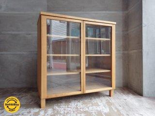無印良品 MUJI 組み合わせて使える木製収納 ロータイプ キャビネット ガラス扉 タモ材 ♪