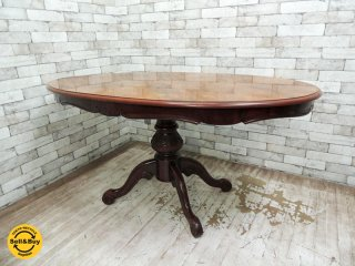 ヨーロピアン クラシカルスタイル ダイニングテーブル ロココ調 バロック調 象嵌 オーバル ●