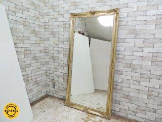ヨーロピアンスタイル アンティーク調 全身鏡 ゴールドカラー ウォールミラー スタイルミラー 大型鏡 A ●