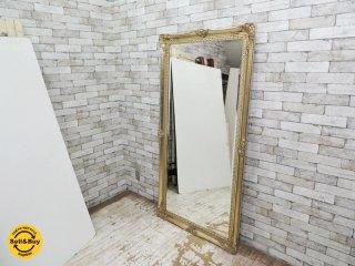 ヨーロピアンスタイル アンティーク調 全身鏡 ゴールドカラー ウォールミラー スタイルミラー 大型鏡 B ●