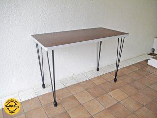 デコラトップ × アルミリム ダイニングテーブル デスク ミッドセンチュリー 木目調天板 黒脚 ◇