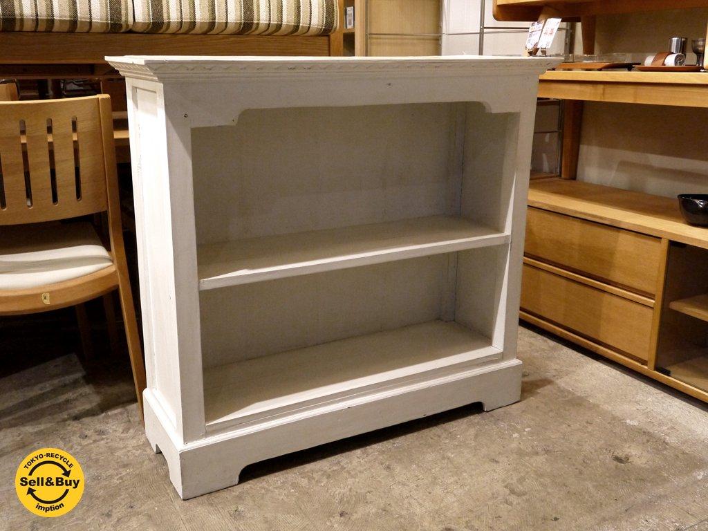 シャビーシック ペインテッド アンティーク調 木製シェルフ オープンラック ホワイト ■