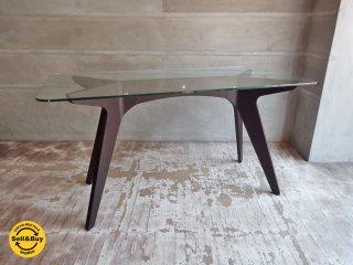 イーアンドワイ E&Y ペガサス PEGASUS ガラス ダイニングテーブル ブラウン アレックス・マクドナルド Alex Macdonald 幅140cm ♪