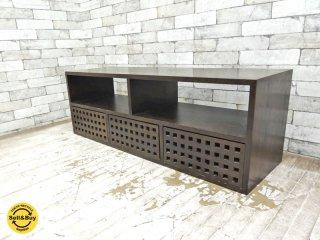 エーフラット a.flat キューブ テレビボード 無垢材 引き出し3杯 アジアン ●