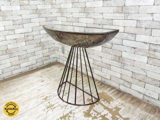 コンソールテーブル ゴールド ガラス天板 アイアンフレーム ●