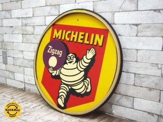 ビンテージ 木製看板 タイヤ フレーム MICHELIN MAN ミシュランマン ビバンダム 1957年製 ●
