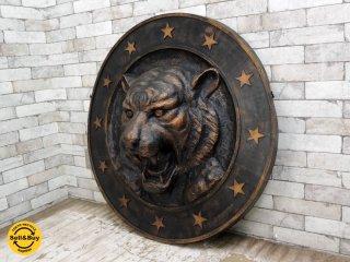 クラシカルスタイル ウォール タイガー 壁掛け オブジェ 店舗什器 ●