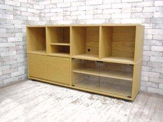 無印良品 MUJI スタッキングキャビネット オーク材 サイドボード 木製&ガラス扉付き W162.5cm ●