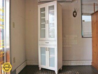 モモナチュラル Momo natural ランド LAND スリム カップボード 食器棚 パイン材 ホワイト ◎