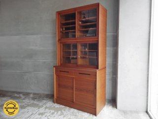 日田工芸 シャルル チーク材 食器棚 キッチン カップボード ガラスキャビネット W90cm ジャパンビンテージ♪