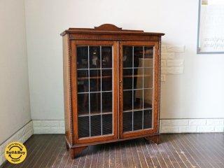 ロイズアンティークス Lloyd's Antiques 英国 アンティーク ブックケース イギリス ガラス キャビネット 本棚 オーク材 1930's ヴィンテージ ◎