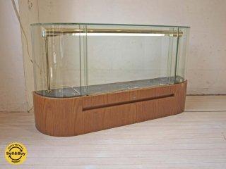 ビンテージ ウォッチ ディスプレイ ガラス ショーケース 真鍮 蛍光管照明付 飾り棚 高さ 55cm  鍵付 ★