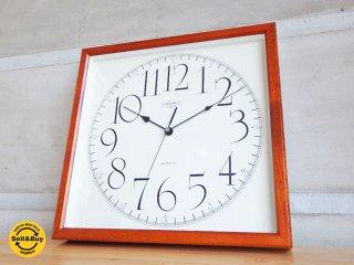 愛知時計 aichi アイチ 高性能クロック 掛け時計 ウッドフレーム スクエア ♪