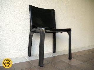 カッシーナ Cassina 412 キャブ CAB アームレスチェア 黒 巨匠マリオ・ベリーニ '77デザイン MoMAパーマネントコレクション 定価¥213,840- A ◇