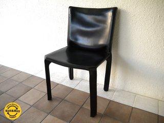 カッシーナ Cassina 412 キャブ CAB アームレスチェア 黒 巨匠マリオ・ベリーニ '77デザイン MoMAパーマネントコレクション 定価¥213,840- B ◇