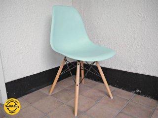 ハーマンミラー HermanMiller C&R.イームズ Eames 美品 サイドシェルチェア アクアスカイ / 水色系 ダウェルレッグ = DSW / メイプル色 定価¥63,720- B ◇