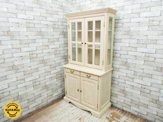 カントリースタイル ホワイトペインテッド カップボード 食器棚 ●