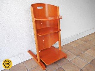 モイジ MOIZI ピーター・モイジ Peter Moizi デザイン モイジチェア1 + テーブル(兼ガード)付き チェリー色 定価¥46,200- ベビーチェア ステップアップチェア ◇