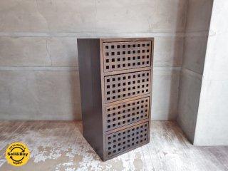 エーフラット a.flat ユニットキューブ 1×4 無垢材 ウッドドロアー ボックス ×4付き チェスト ♪