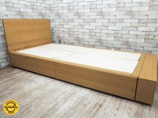無印良品 MUJI オーク材 ベッドフレーム シングルサイズ 引き出し 収納ボックス付き ナチュラルカラー ●