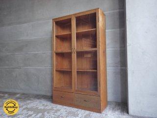 木味 ビンテージ ブックシェルフ 本棚 ガラス戸 ♪